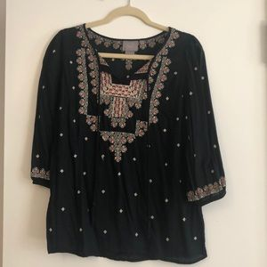 Black embroidered peasant top